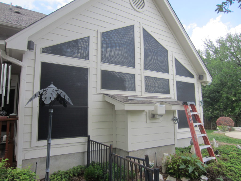 Trapezoid Shaped solar screens for windows. Showing a perfect fit for these shapes of solar screens.
